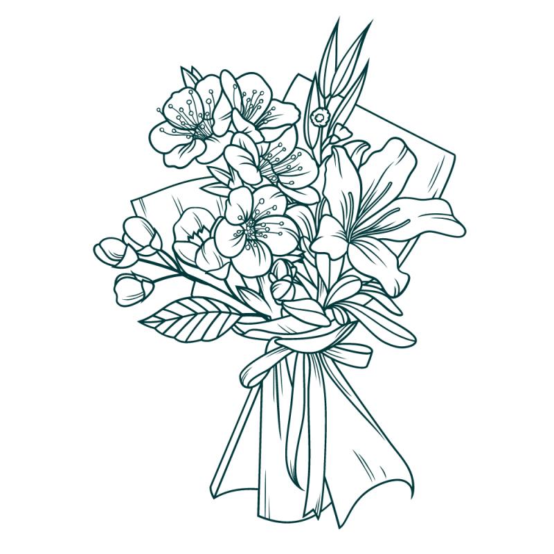 Ramo de flores en rosas